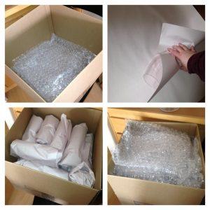 بسته بندی شیشه با نایلون حبابدار